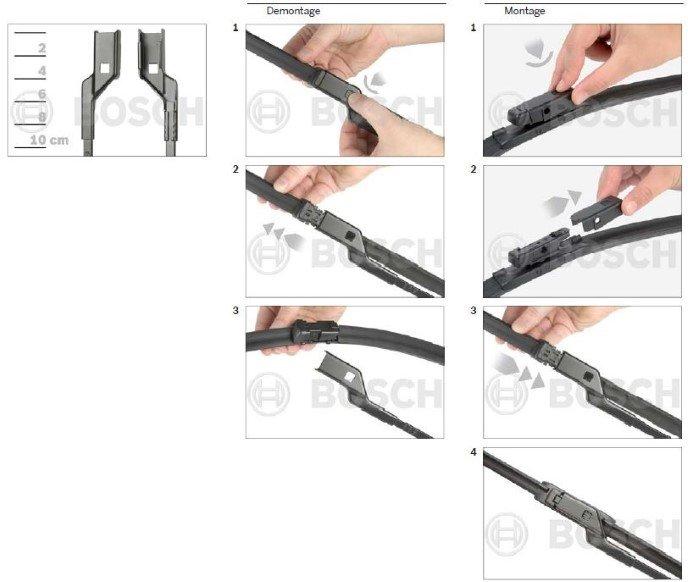 nieuwe flatblade Bosch Aerotwin ruitenwissers met een drukknop aansluiting