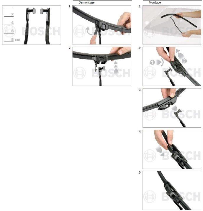 nieuwe flatblade Bosch Aerotwin ruitenwissers met een zijdelingse aansluiting