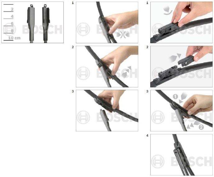 nieuwe flatblade Bosch Aerotwin ruitenwissers met een klemmende aansluiting